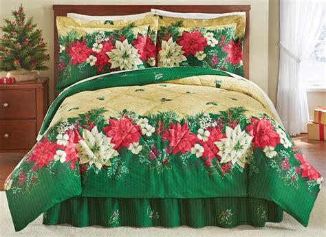 reversible christmas poinsettia comforter set by