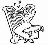 Harp Coloring Celtic Playing Drawing Woman Colorear Getdrawings Coloringcrew sketch template