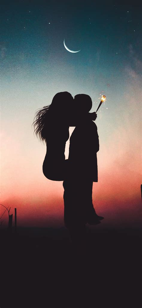 wallpaper couple lovers kiss romance sunset iphone   hd image background
