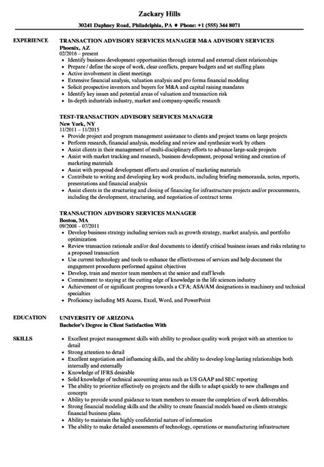 Resume M A Advisor by Transaction Advisory Services Manager Resume Sles