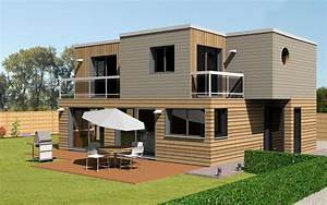 plan maison ossature bois toit plat nous avons pens une With plan de maison cubique 3 maison bois cubique 224 toit plat nos maisons ossatures bois