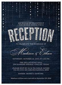 post wedding reception only invitations denim diamonds With wedding reception invitations with pictures