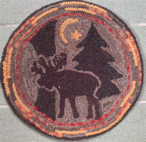 Hooked Chair Pad Patterns by Rug Hooking Pattern For Quot Moonlight Moose Quot Chair Pad On