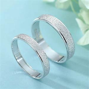 brushed center polished edges couple promise rings set With flat womens wedding rings