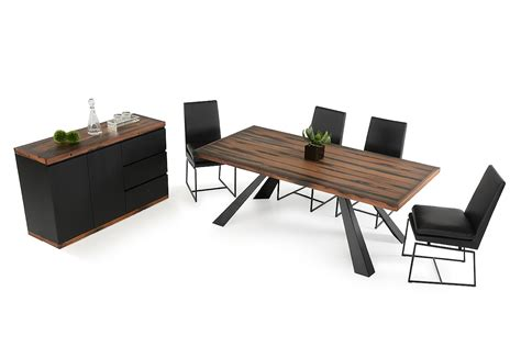 modern recycled ship wood dining table with black metal