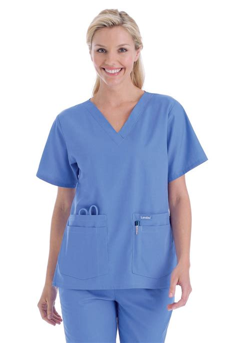 Ceil Blue Fleece Scrub Jacket by Scrub Top S V Neck Tunic Landau 8219 Central Uniforms