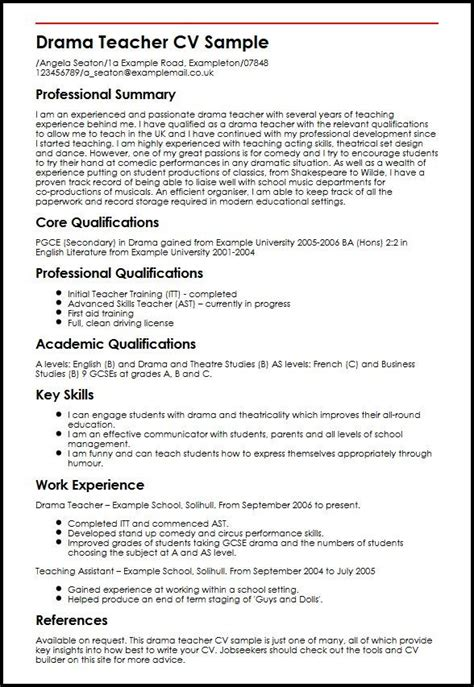 drama teacher cv sample myperfectcv teacher cv