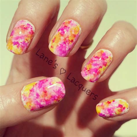 alcohol ink marble manicure  pink purple yellow