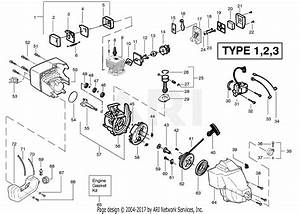 Poulan Featherlite Gas Trimmer Type 3 Parts Diagram For