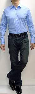 Light Blue Dress Shirt Dark Blue Jeans Black Belt Black Dress Shoes - Menu0026#39;s Fashion For Less