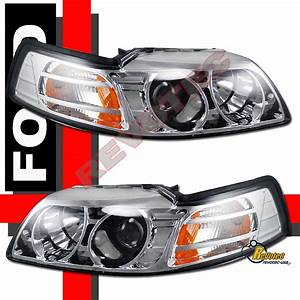 1999-2004 Ford Mustang Chrome Projector Headlights RH + LH | eBay