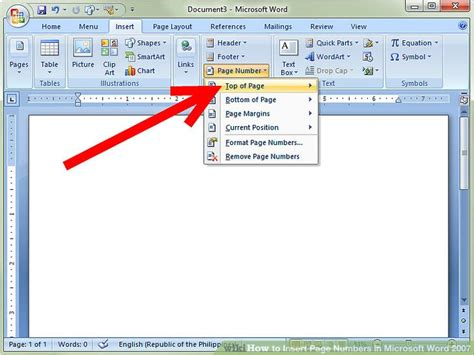 How To Insert Page Numbers In Microsoft Word 2007 4 Steps