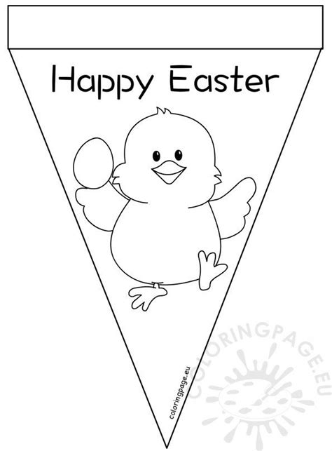 printable happy easter pennant banner coloring page