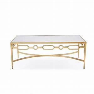 interlude larissa mirrored coffee table with gold leaf finish With gold and mirror coffee table