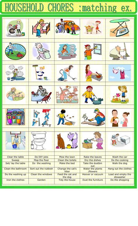 household chores matching interactive worksheet
