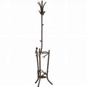 Wrought Iron Rustic Pine Coat Rack w/ Umbrella Stand