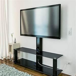 Fernseh Rack Glas : deleycon tv st nder tv halterung fernsehtisch standfu mit glasablage fernsehrack tv tisch tv ~ Whattoseeinmadrid.com Haus und Dekorationen