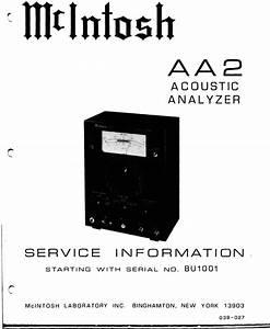 Mcintosh Aa2 Acoustic Analyzer   Original Service Manual