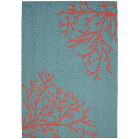 garland rug sea coral teal santa fe coral 5 ft x 7 ft area rug ll580a060084s4 the home depot