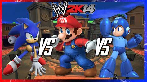 Wwe 2k14 S2e6 Sonic Vs Mario Vs Megaman Steel Cage