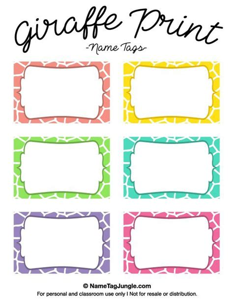 Name The Template by Free Printable Giraffe Print Name Tags The Template Can