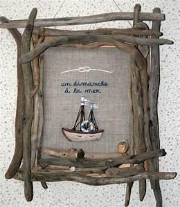 Cadre En Bois Flotté : cadre en bois flott et broderie un dimanche la mer photo de c t oc an sapinlipopette ~ Teatrodelosmanantiales.com Idées de Décoration