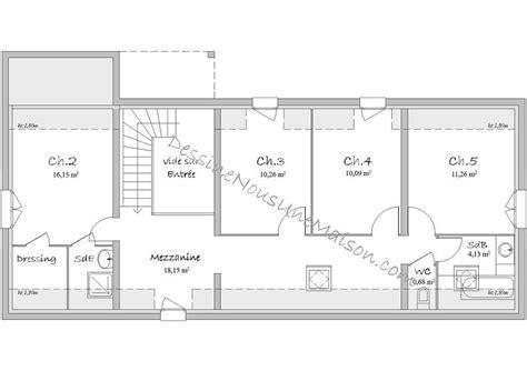plan maison etage 3 chambres gratuit plans de maisons ou villas avec 5 chambres