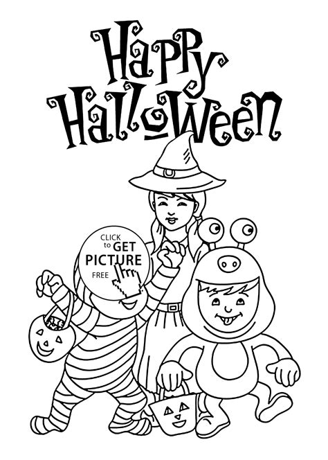 Halloween Happy kids coloring page for kids printable