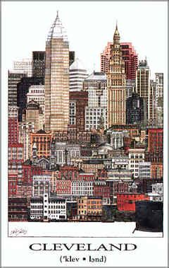 cleveland architectural collage illustration art print poster
