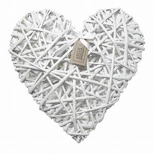 Large White Heart Of Wicker DotComGiftShop