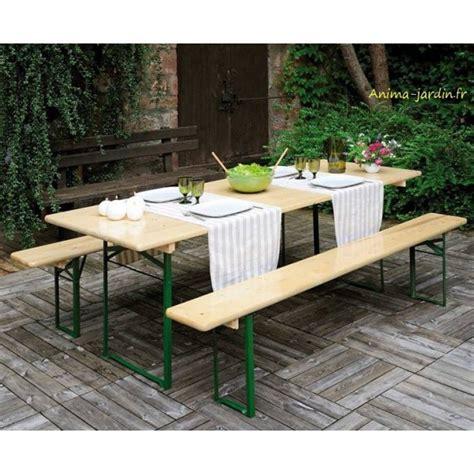 Table Banquet Pliable Avec Bancs En Bois Et Métal, Set