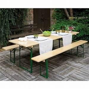 Table Jardin Pliable : table banquet pliable avec bancs en bois et m tal set brasseurs ~ Teatrodelosmanantiales.com Idées de Décoration