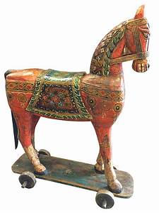 Consigned, Horse, On, Wheels, Solid, Rustic, Wood, Handmade, Sculpture, Figurine, -, Asian