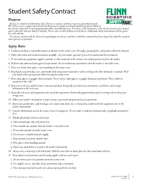 middle school science safety contract english