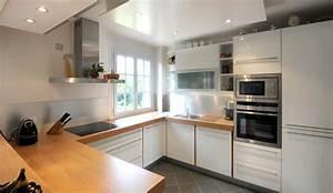 Cuisine Blanche Plan De Travail Bois : cuisine blanche et plan de travail bois maison design ~ Preciouscoupons.com Idées de Décoration