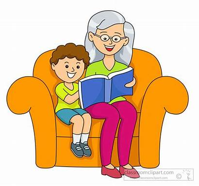 Clipart Grandmother Na Reading Child Stories Aaral