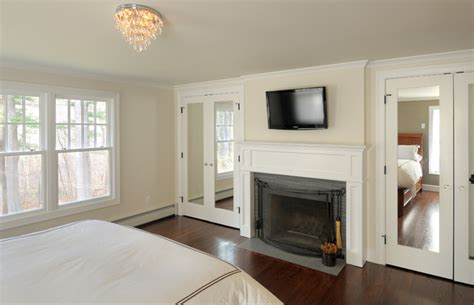 traditional master bedroom remodel mirrored closet doors
