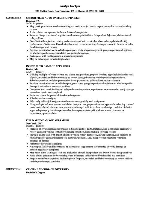 Auto Resume by Auto Damage Appraiser Resume Sles Velvet