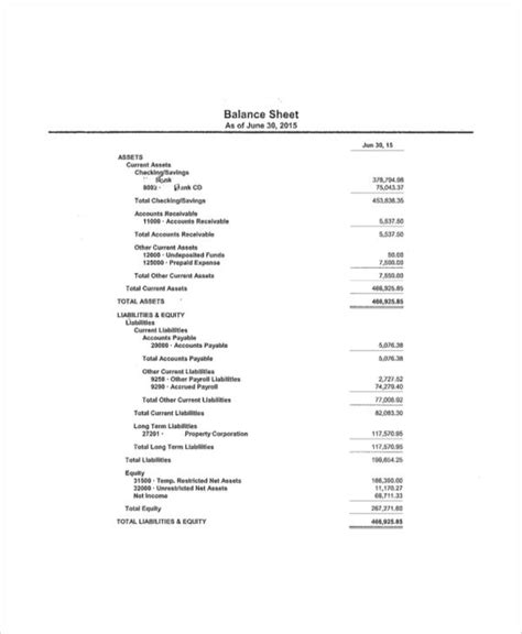 balance sheet samples  ms word