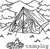 Camping Coloring Pages Tent Printable Sheets Sheet Campfire Tourist Template sketch template