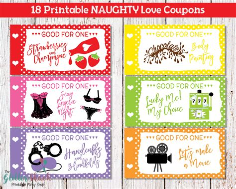 Printable Naughty Love Coupons For Men Husband Boyfriend Sexy