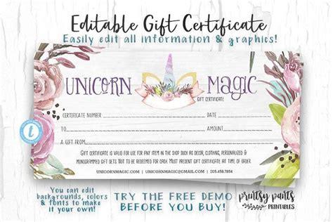editable gift certificate unicorn magic voucher
