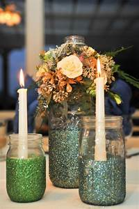 Wedding, Table, Centerpieces, With, Mason, Jars