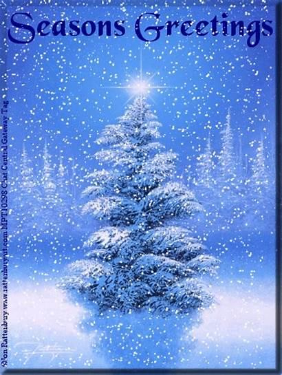 Animated Snow Christmas Seasons Scene Winter Greetings