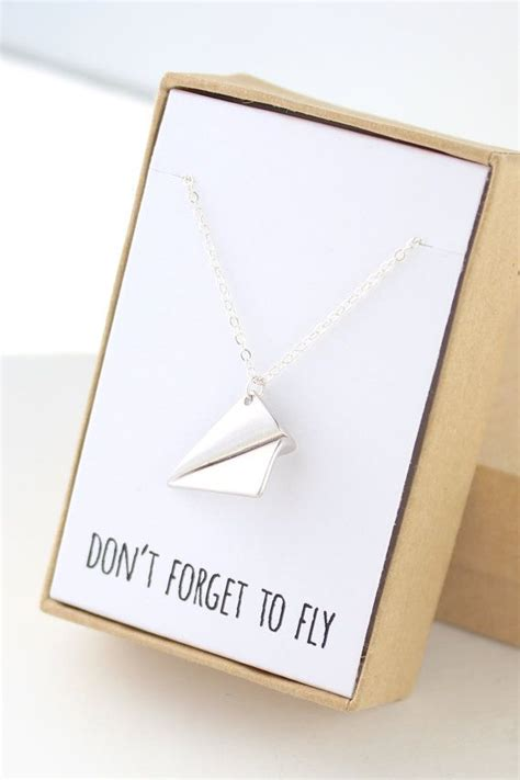 Paper Airplane Necklace Silver