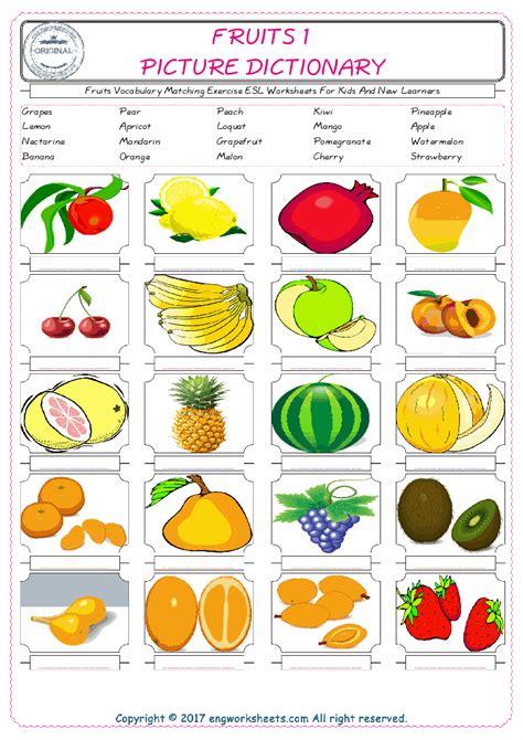 fruits esl printable english vocabulary worksheets