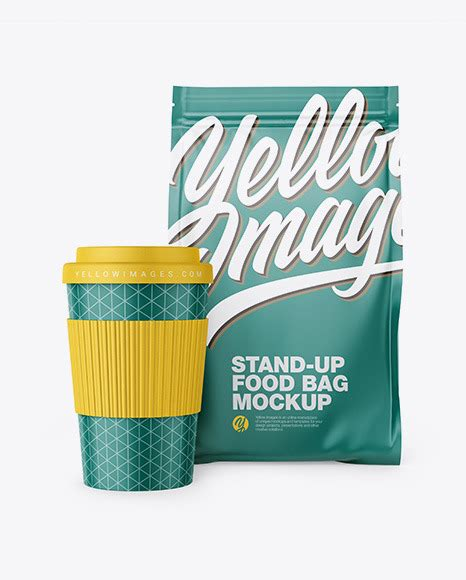 We see that everything is arranged in a specific manner so that the identity becomes strong and comprehensive and this is the most important thing regarding. Matte Stand-Up Bag with Coffee Cup Mockup | Exclusive Mockups