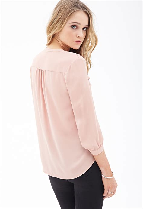 chiffon blouse forever 21 ruffled chiffon blouse in pink lyst
