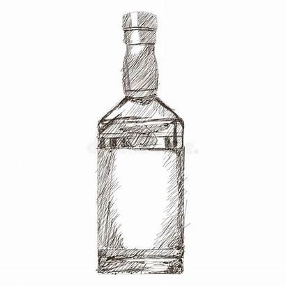 Bottle Liquor Sketch Icon Illustration Simple Flat