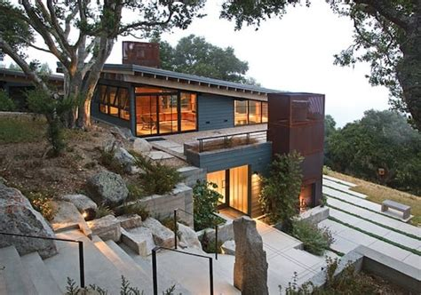 built hillside home blends landscape feldman architecture house ocho